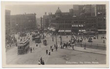 Real Photo Postcard Trollies at Central Square in Lynn, Massachusetts~105637