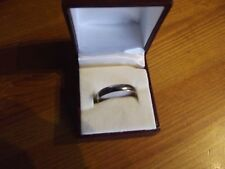 New Mens 4mm Titanium Polished Court Band Wedding Ring / Gift Boxed / Size Y 3/4