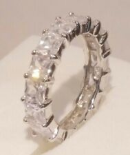 3 Ct Princess cut Diamond Eternity Band Stackable Wedding Ring White Gold ov