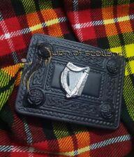 Scottish Kilt Belt Buckle Irish Harp Chrome Finish Highland Celtic Buckles Black