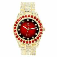 Gold Iced Watch Bling Rapper Simulate Diamond Metal Band Luxury Cubic RED Unisex