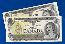TWO consecutive 1973 CANADA Canadian ONE 1 DOLLAR BILL prefix BFH NOTES AU