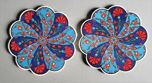 2 Iznik Turkish Ceramic Trivet/Hot Plate Blue/Red Flowers Used