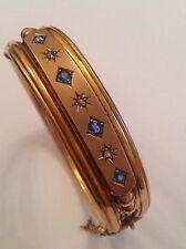 Antique Victorian 9ct Rose Gold Natural Sapphire & Rose Diamond Set Bangle