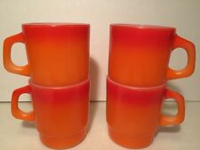 Vintage Fire King Orange/Red Coffee Mug Anchor Hocking D Handle USA