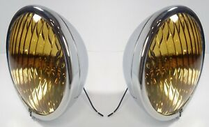 Pair Amber Fog Lights w/ Smooth Lens Vintage Style 12V for 1936-38 Chevrolet