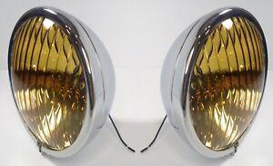 Pair Amber Fog Lights w/ Smooth Lens Vintage Style 12V for 1936-38 Chevrolet