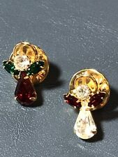 Two Small Angel Pins Brooches Made of Rhinestones