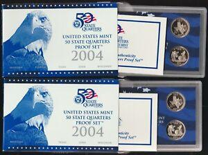 Lot of 2 2004 Clad Quarter Proof Sets, OGP & COA