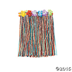 "Multi Color Hawaiian CHILD Flower Hula Skirt Adjustable Waist 24-17"" FREE SHIP"
