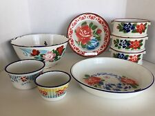 Lot of 8 Vintage Enamelware Stenciled Floral Design Kitchenware Bowls,Plate,Tray