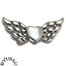 HEART ANGEL WINGS Antique Silver Plated 21x10mm with 1.5mm HOLE 25pcs SALE