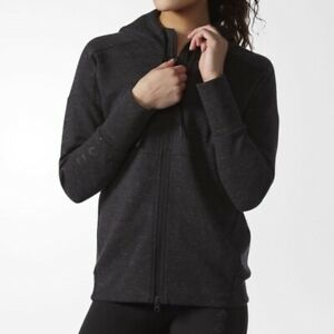 Adidas Wanderlust Dark Gray Marled Full Zipper Hoodie Sweatshirt Women's Size XL