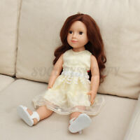 18'' Girl Doll Realistic Vinyl Full Body Handmade Kid Toy W/ Yellow Yarn Skirt