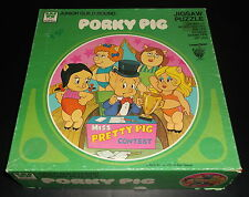 """Looney Tunes Porky Pig Miss Pretty Beauty Contest 125 Pc 20"""" Round Puzzle 1979"""