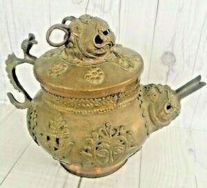 Antique Tea Pot Kashmir Ornate Brass Copper Dragon Handcrafted