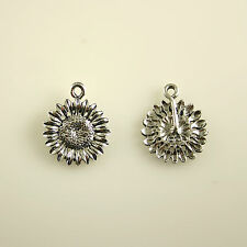 Sunflower Bloom - 5 Lead Free Antique Silver Tone Pewter Charms