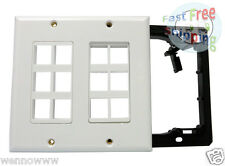 2-Gang Wall Plate for Keystone, 12 Hole - White Color--With Bracket