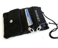 Black Genuine Leather Passport Holder Lanyard Neck Strap Travel Bag