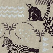 By 1/2 Yard Kokka Echino Canvas Fabric ~ Habitat in Natural Zebra Lemur Owl Deer