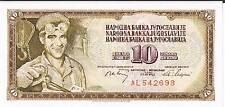 YUGOSLAVIA BANKNOTE 10 P82b 1968 UNC 6 digit serial # without serifs