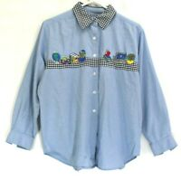 VTG Bechamel Petites Women L Embroidered Office Supplies Denim Checkered Shirt