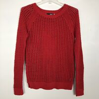 ANA Womens Sweater Pullover Open Knit Red Size Medium