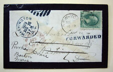 1879 Boston Newspaper Forwarding Cancel on Forwarded Mourning Cover Carrier CDS