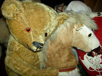 "Wonderful large antique, 24"" IDEAL, golden mohair, straw-filled j'td. teddy bear"