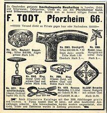F. todt Pforzheim 66 Gold-u. plata eran bastón pinzamiento anillos broche mansch... 1901