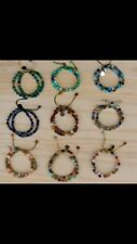 New genuine multi stone shambella bracelets 9 pc assorted lot.