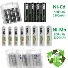 EBL Lot 1.2V AA AAA 500/800/1100/2300mAh NI-MH/NI-CD Rechargeable Battery + Box