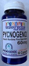 French Maritime Pine Bark Extract Genuine Pycnogenol 60mg 30 Capsules NEW!!