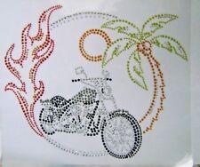RIDER ~ BIKE~ MOTORCYCLE RHINESTONE IRON ON APPLIQUE / HOT FIX TRANSFER