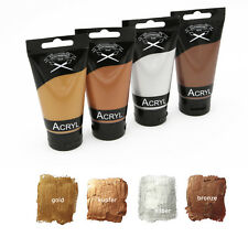 Metallic Acrylfarben Set 4x 75 ml in Kupfer, gold, silber + bronze