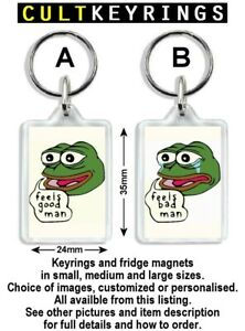 Feels Good Man Feels Bad Man keyring / fridge magnet  - Pepe Frog, Sad Frog