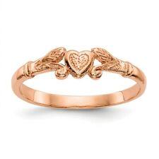 14K Rose Gold Textured Mini Heart Baby Ring