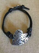 CHAN LUU Black Leather Bracelet w/Sterling Silver Heart