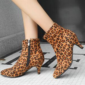 Winter Ankle boots for women Faux Suede Zip Kitten Heel Booties US 6 Leopard