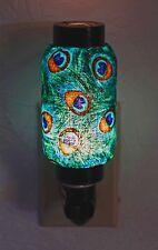 NWT Peacock Feather Hand Made Oriental Lantern Night Light Lamp Nightlight
