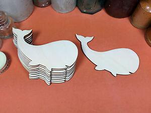 WOODEN WHALE Shapes 12cm (x10) laser cut wood cutouts crafts blank shape