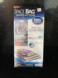 Space Bag Evolution 6-Bag Set — 3 Large, 3 Medium — NEW — Storage/Travel
