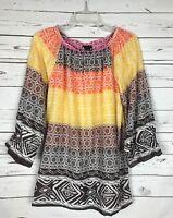 Boutique KAKTUS Fall Boho Brown Peasant Blouse Top Shirt Tunic ~ Women's S Small