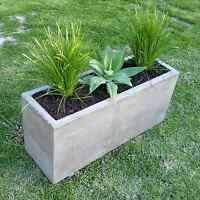 Concrete planter box, large polished patio trough, outdoor concrete garden box
