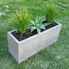 Concrete planter box, large polished patio planter, outdoor concrete garden box