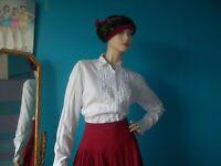 Helen McAlinden Frilly Neck Blouse White Cotton Ladies Size UK 12