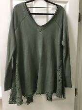 Free People Long Sleeve Lace Insets Tunic V Neck Size M 100% Cotton