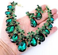 Necklace Earring Set Rhinestone Austrian Crystal Green