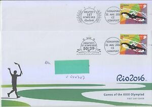 SINGAPORE 2016 1ST OLYMPIC GOLD (SWIMMING) 2 DIFF POSTAL SLOGAN CANCELLTION FDC