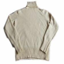 Ladies Womens Cream Ribbed Polo Neck Jumper Turtle Roll Top Long sleeve